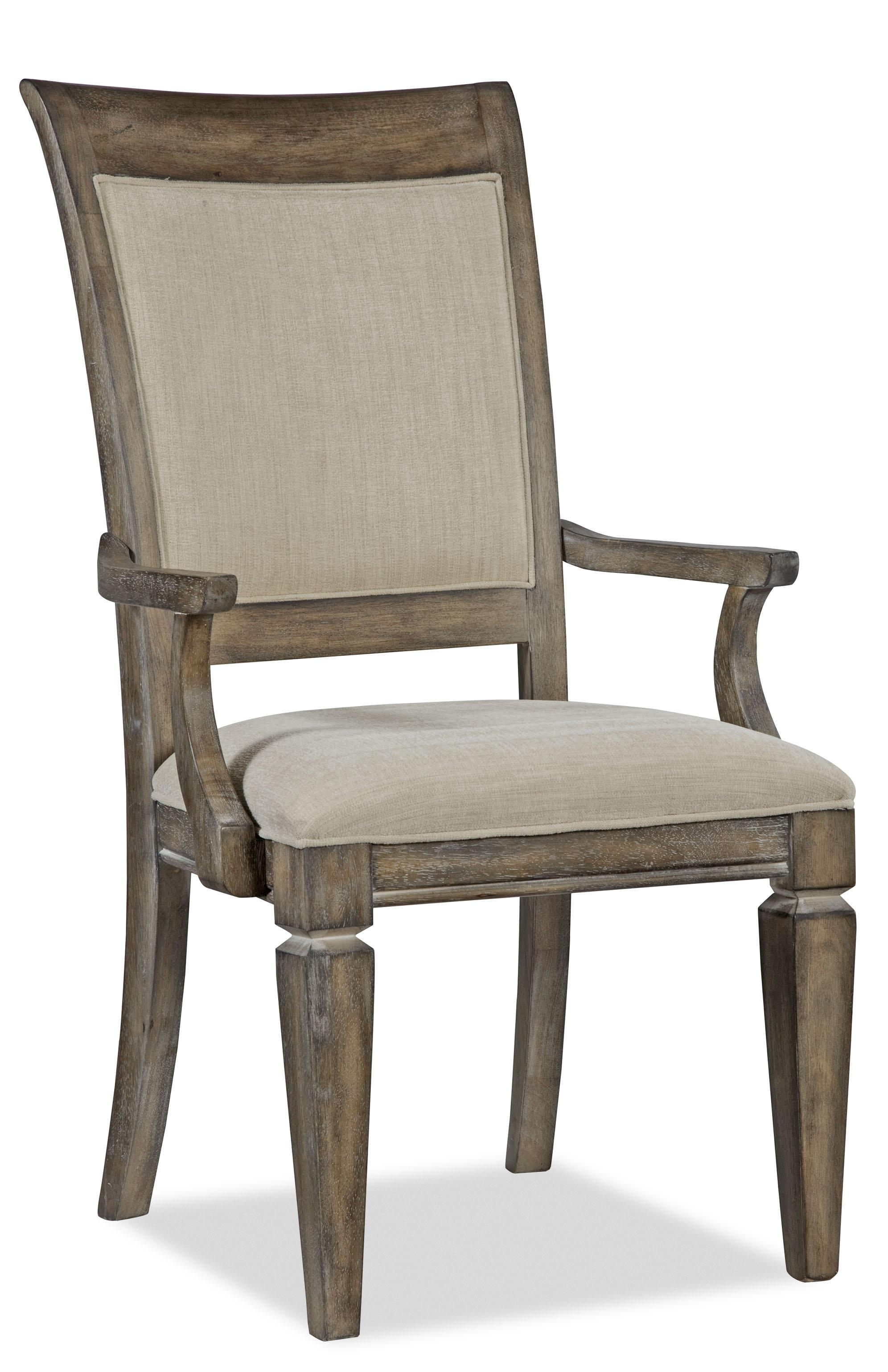 "Upholstered Dining Arm Chair with Exposed Wood ""X"" Backrest by"