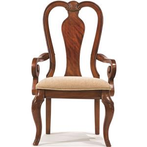 Queen Anne Arm Chair with Upholstered Seat