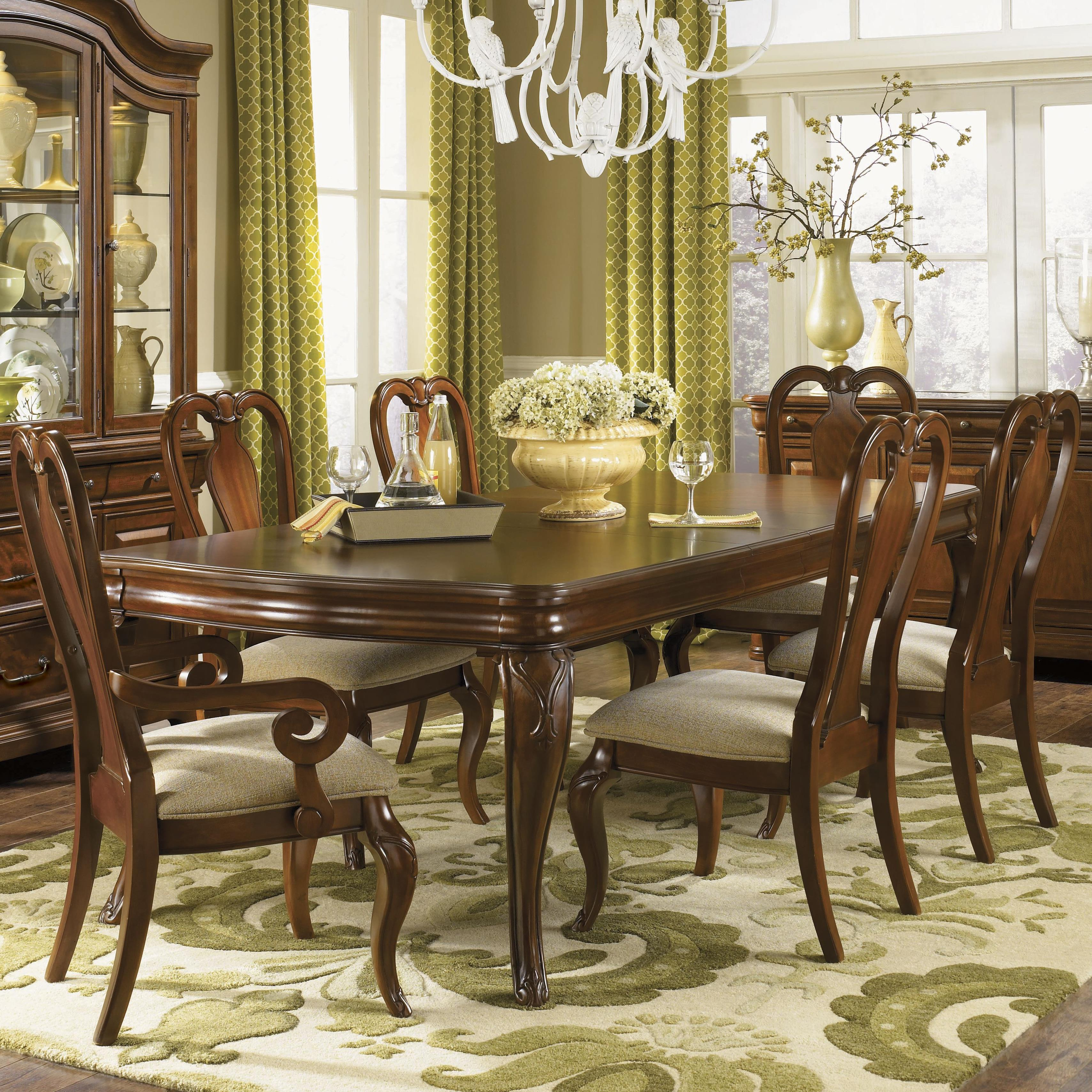 Seven Piece Dining Set With Queen Anne Chairs