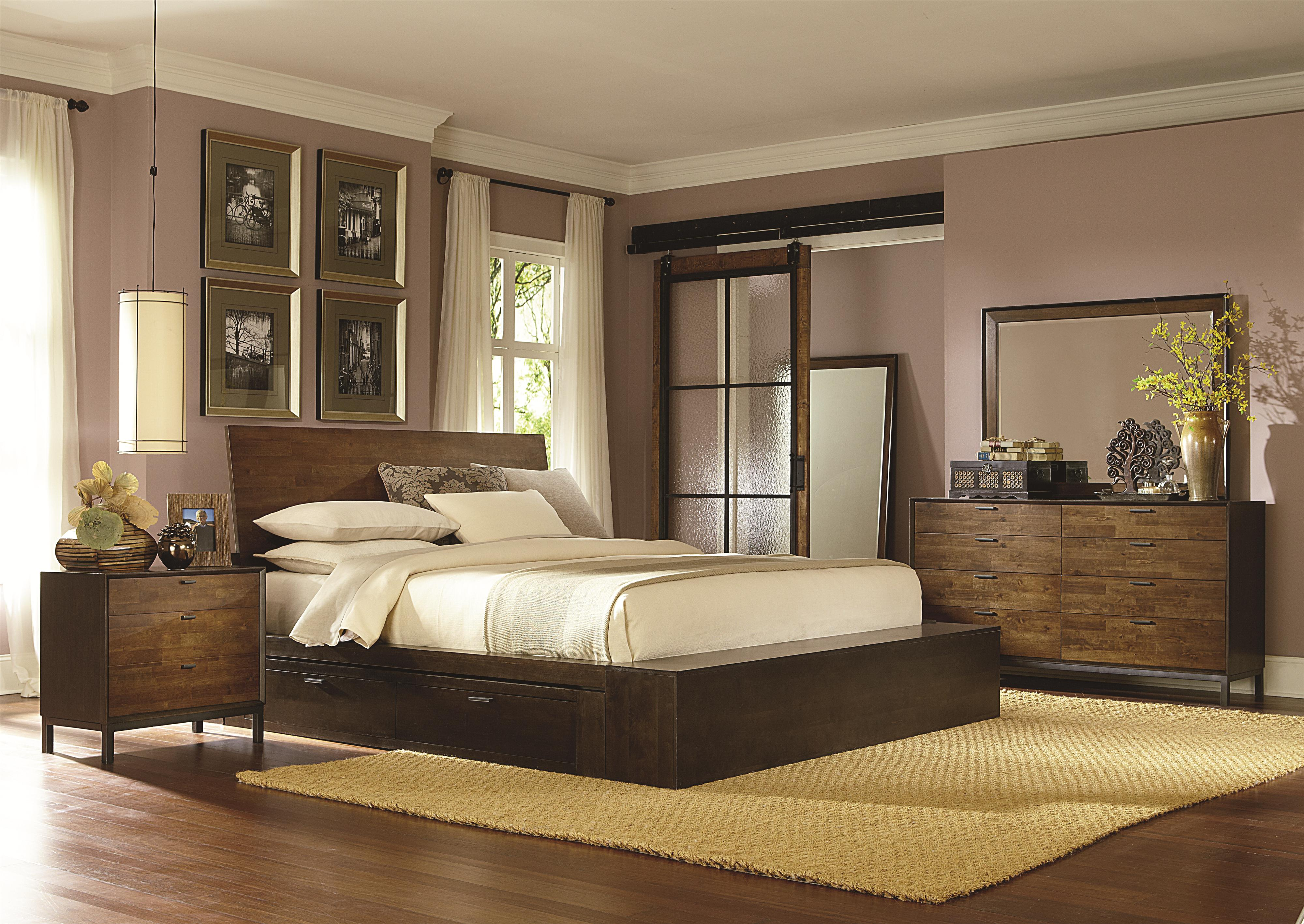 complete platform queen bed with one storage drawer by legacy  - queen platform bed w one storage drawer