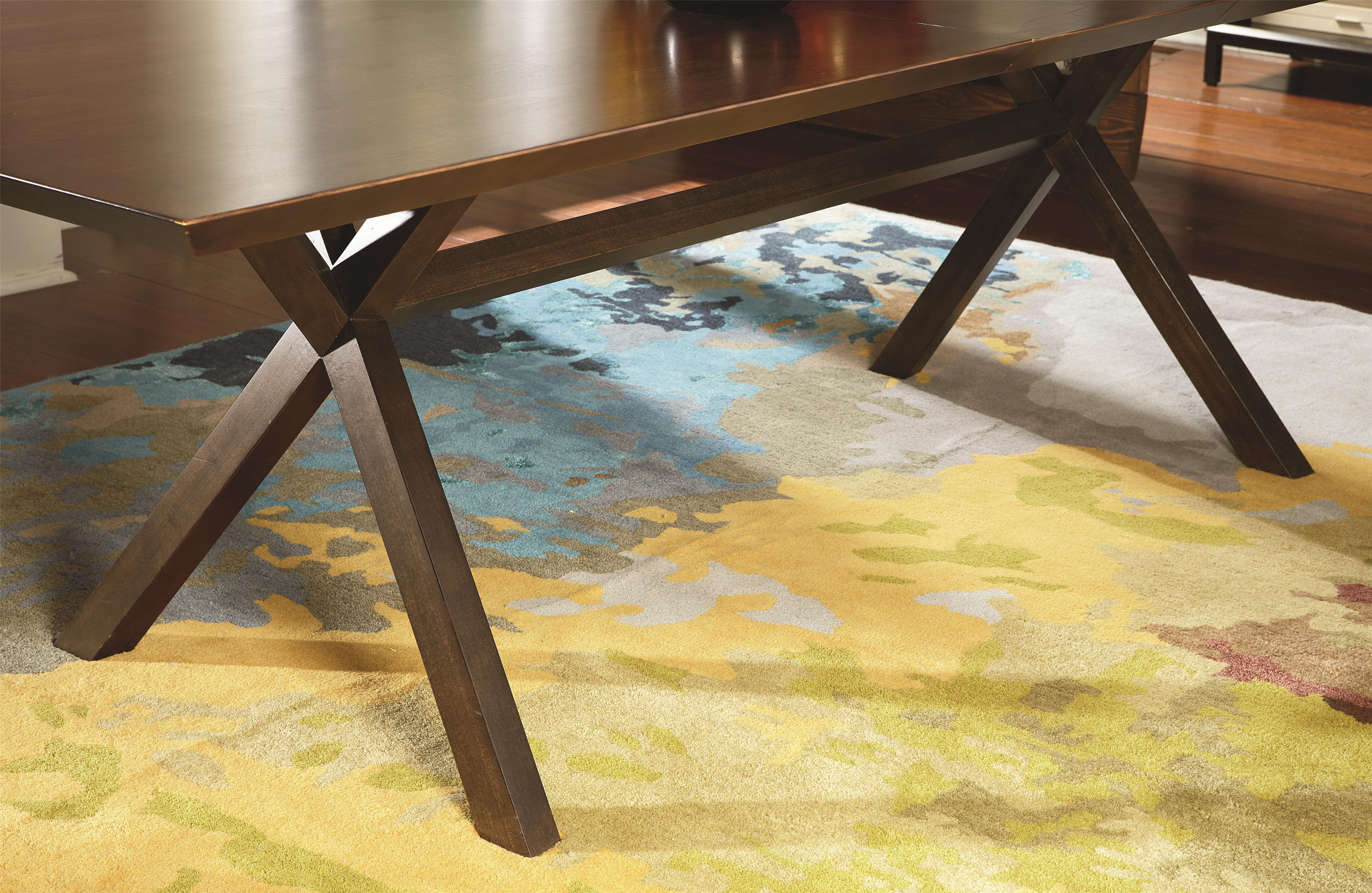 Rectangular Table With Trestle Bottom In Hazelnut Finish With Extension Leaf