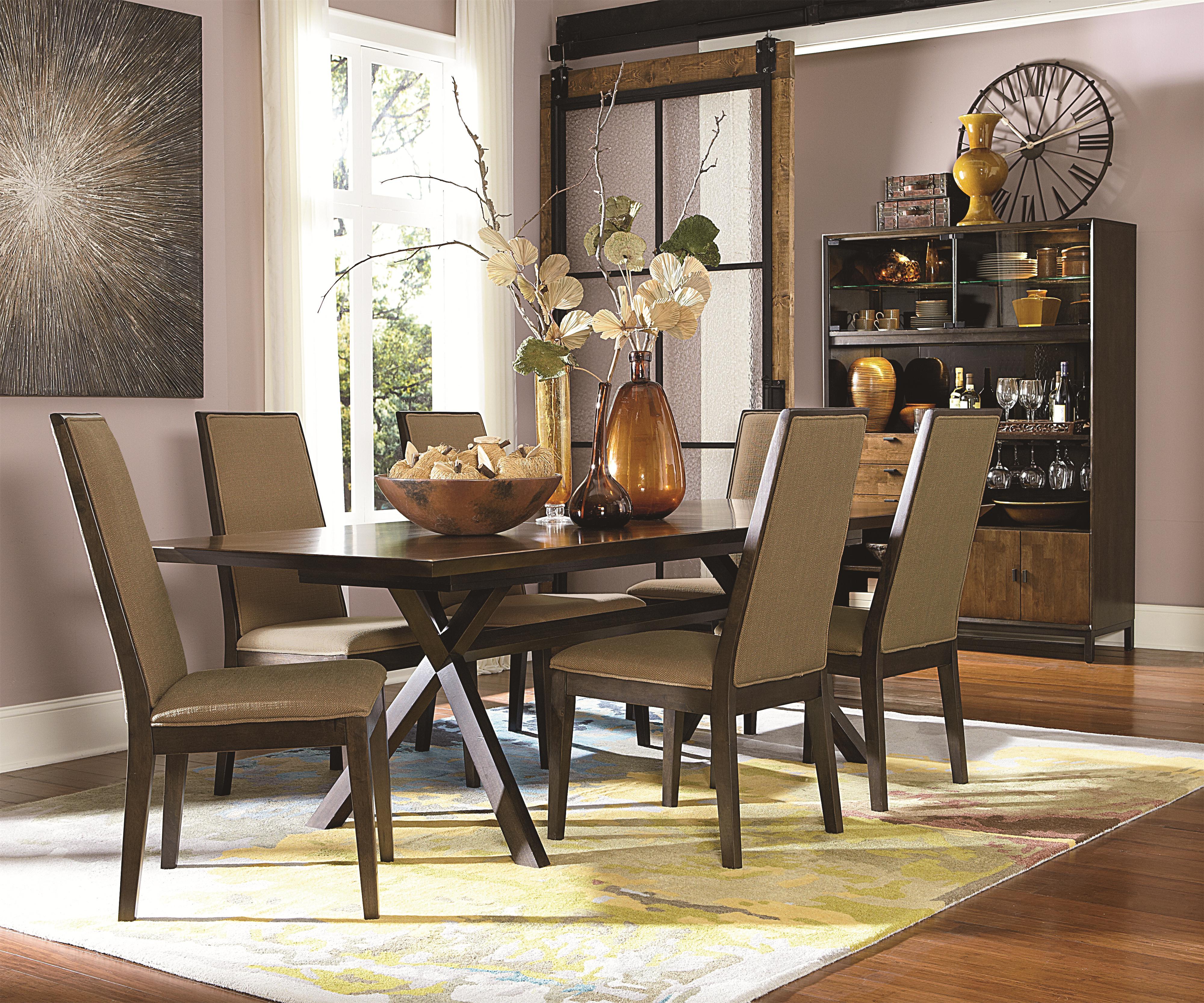 Rectangular Table With Trestle Bottom In Hazelnut Finish Extension Leaf