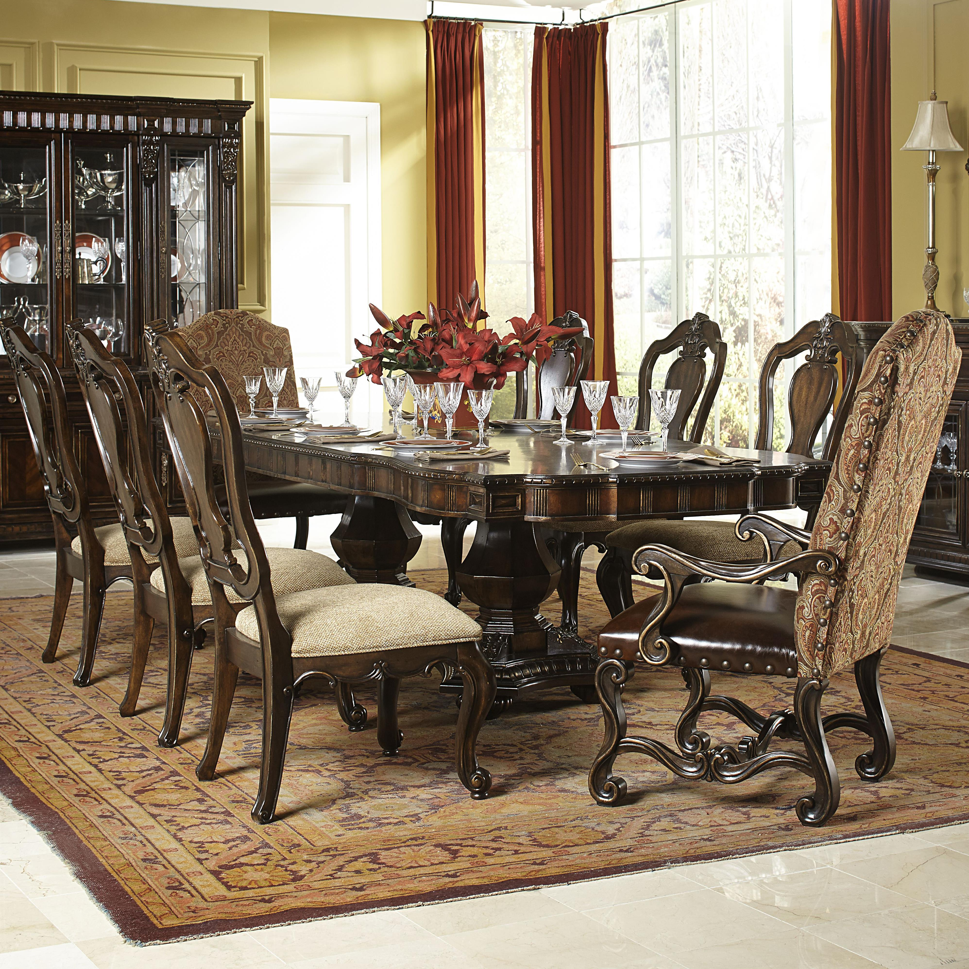 9 piece dining set with upholstered host chairslegacy classic