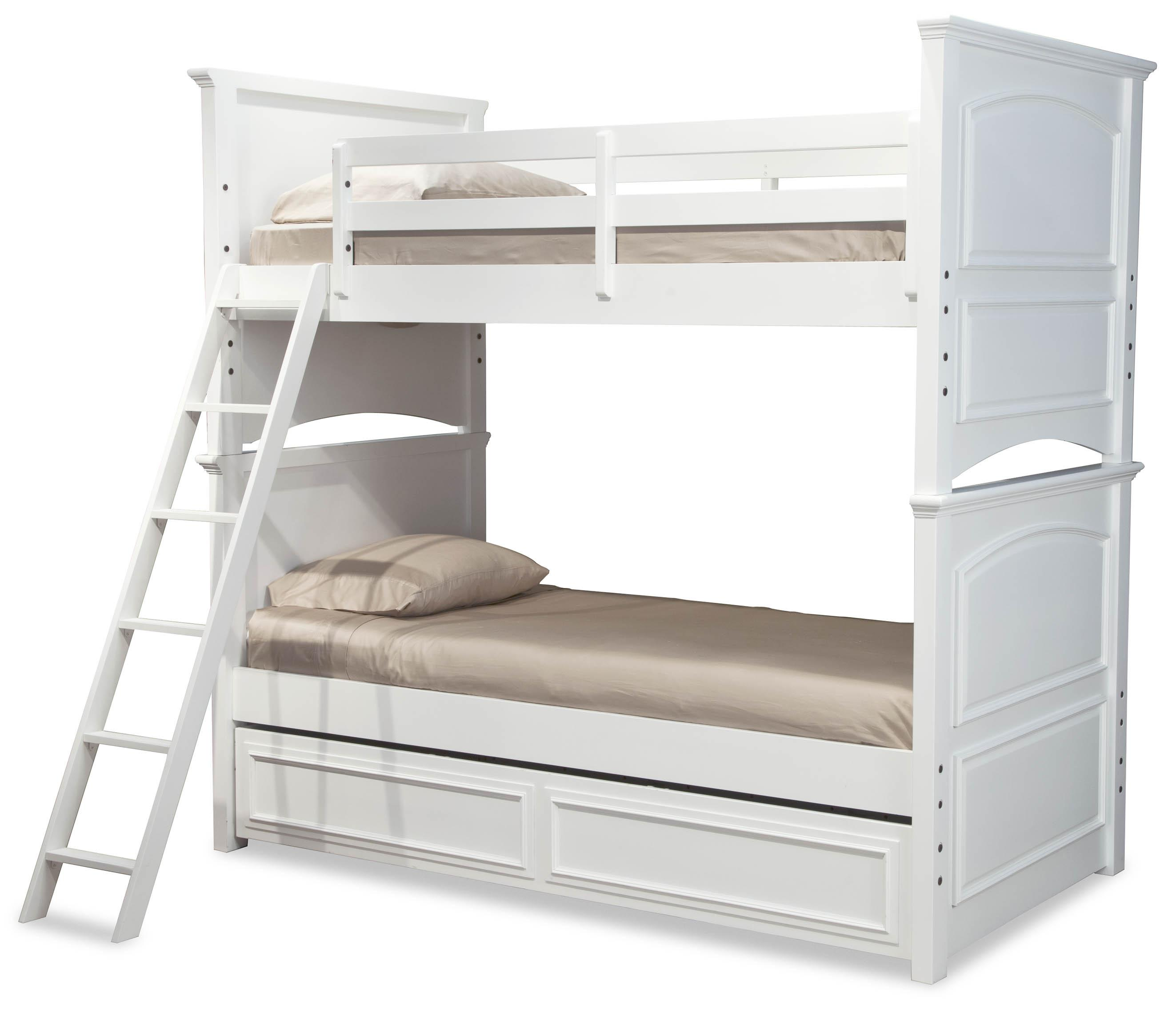 Classic Twin Over Full Size Bunk Bed With Trundle Drawer