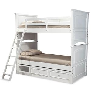 Classic Twin-over-Twin Size Bunk Bed with Underbed Storage Unit