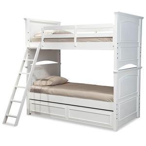 Classic Twin-over-Twin Size Bunk Bed with Trundle Drawer