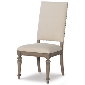 Relaxed Vintage Upholstered Side Chair with Nailheads