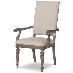 Relaxed Vintage Upholstered Arm Chair with Nailheads