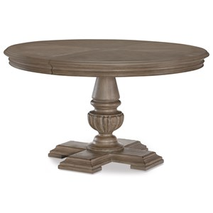 Relaxed Vintage Round Pedestal Table with One Table Extension Leaf