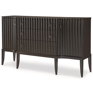 3-Drawer, 2-Door Credenza with Wine Bottle Storage