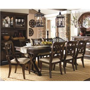 9 Piece Dining Set with X Back Chairs