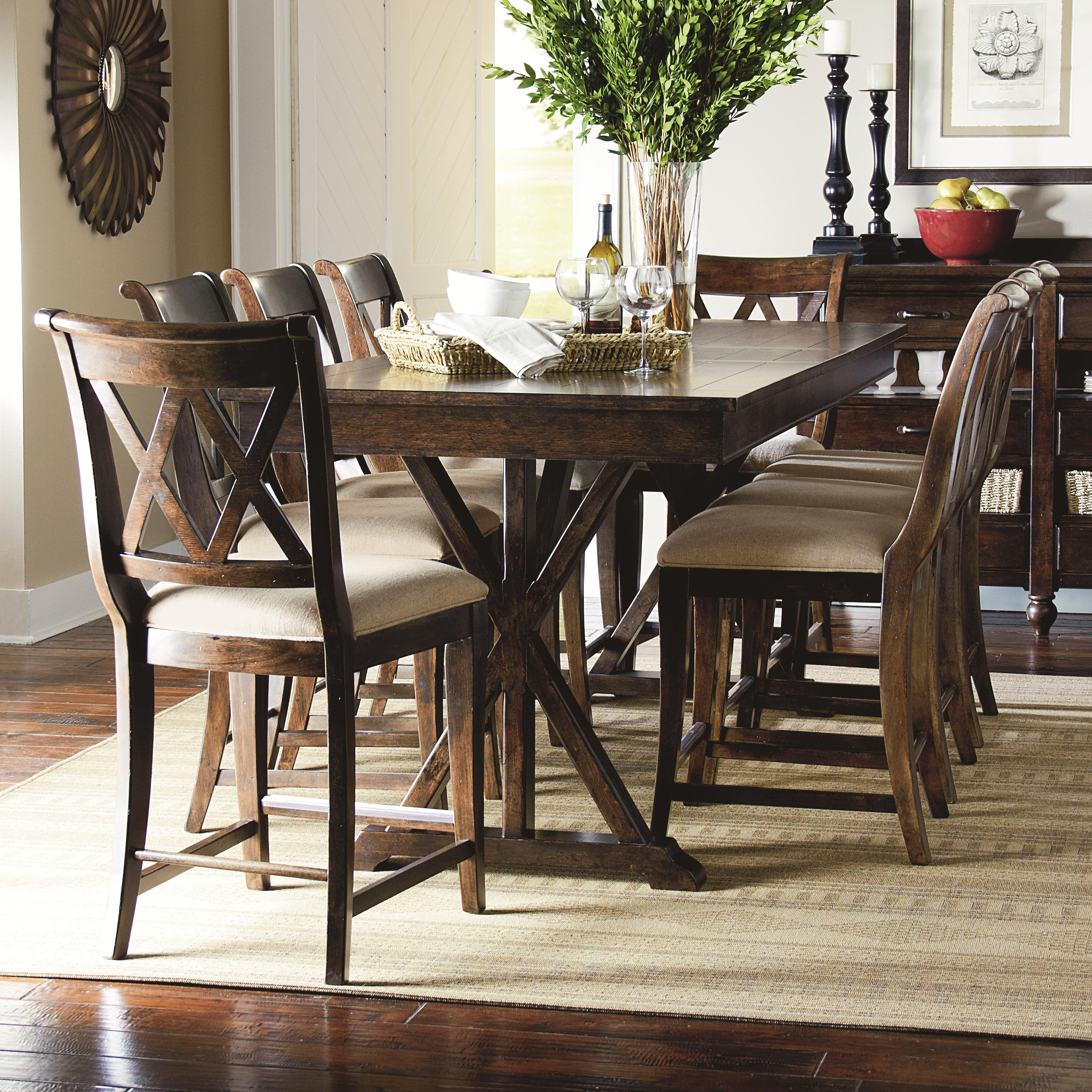 9 piece pub dining set 9 piece pub dining set with x shaped details by legacy classic      rh   wolffurniture com