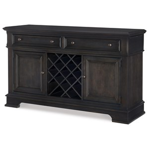 Transitional Dining Credenza with Wine Storage