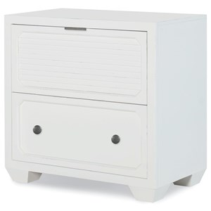 Transitional 2-Drawer Nightstand with USB and AC Power Ports