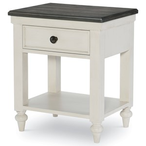 1-Drawer Nightstand with USB Charging Port and Motion Activated LED Light