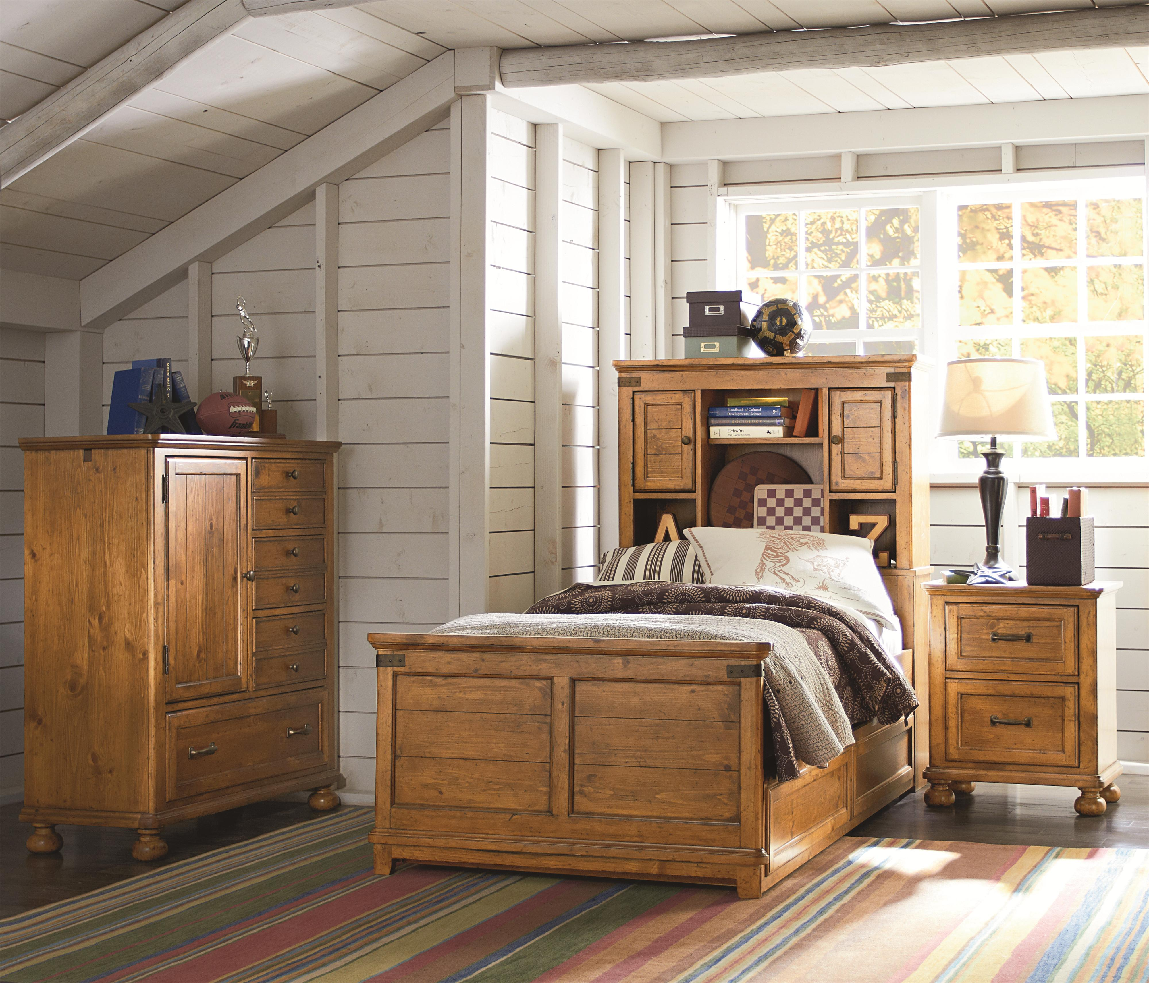 twin bookcase bed with underbed trundle or storage drawer unit by