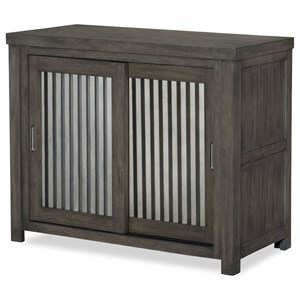 Rustic Casual Sliding Door Chest with Corrugated Metal Doors