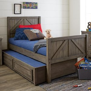 Rustic Casual Twin Panel Bed with Trundle Storage Drawer