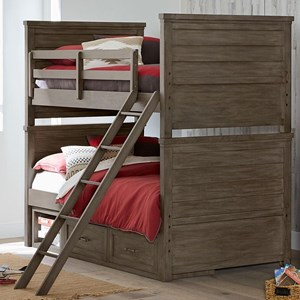 Rustic Casual Twin over Twin Bunk Bed with Underbed Storage Unit