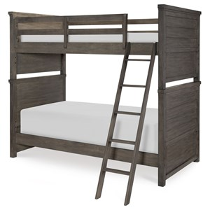 Rustic Casual Twin over Twin Bunk Bed with Ladder and Guard Rails