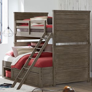 Rustic Casual Twin over Full Bunk Bed with Underbed Storage Unit