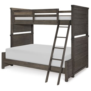 Rustic Casual Twin over Full Bunk Bed with Ladder and Guard Rail