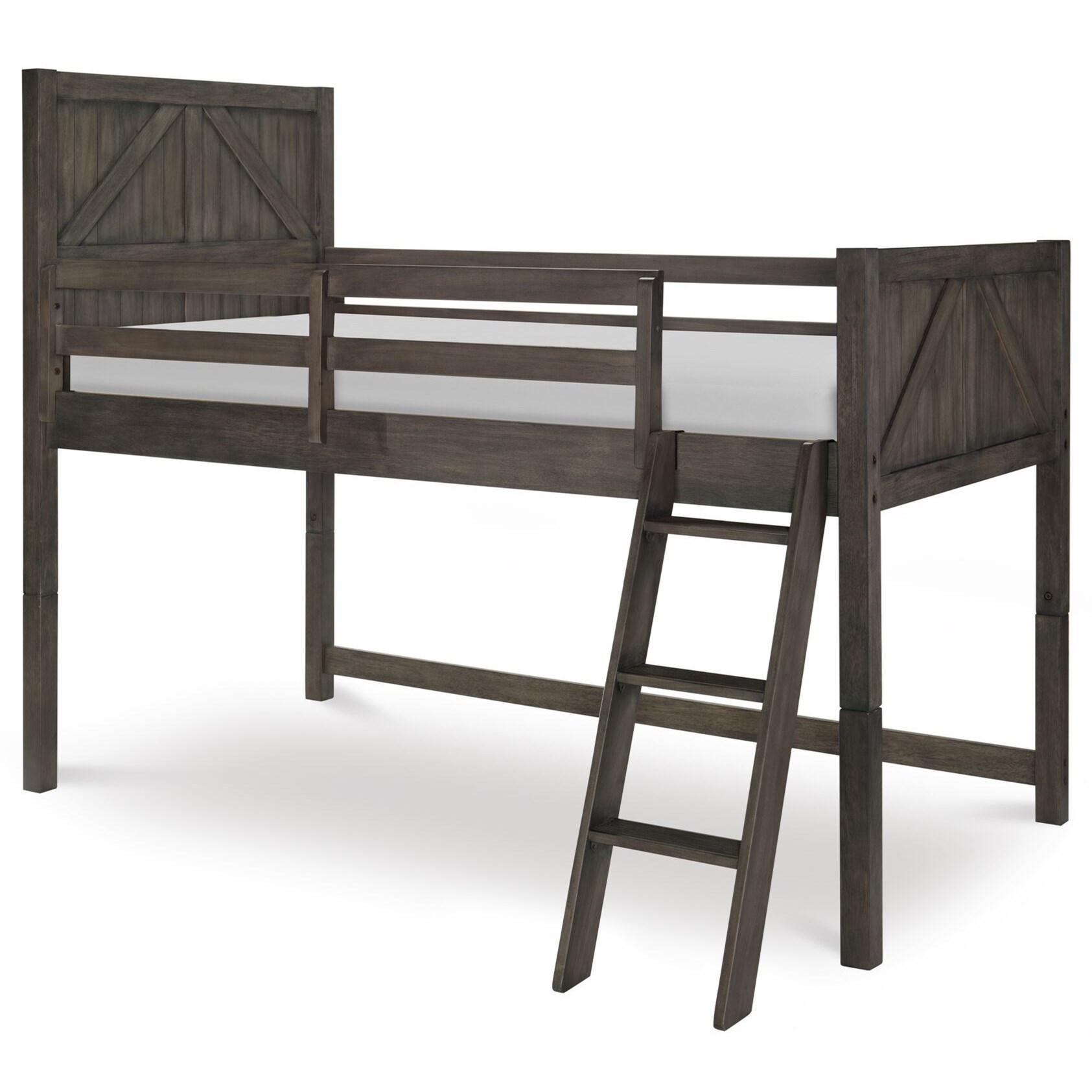 Rustic Casual Twin Mid Loft Bed With Ladder And Guard