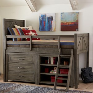 Casual Rustic Twin Mid Loft Bed with Dresser and Bookcase