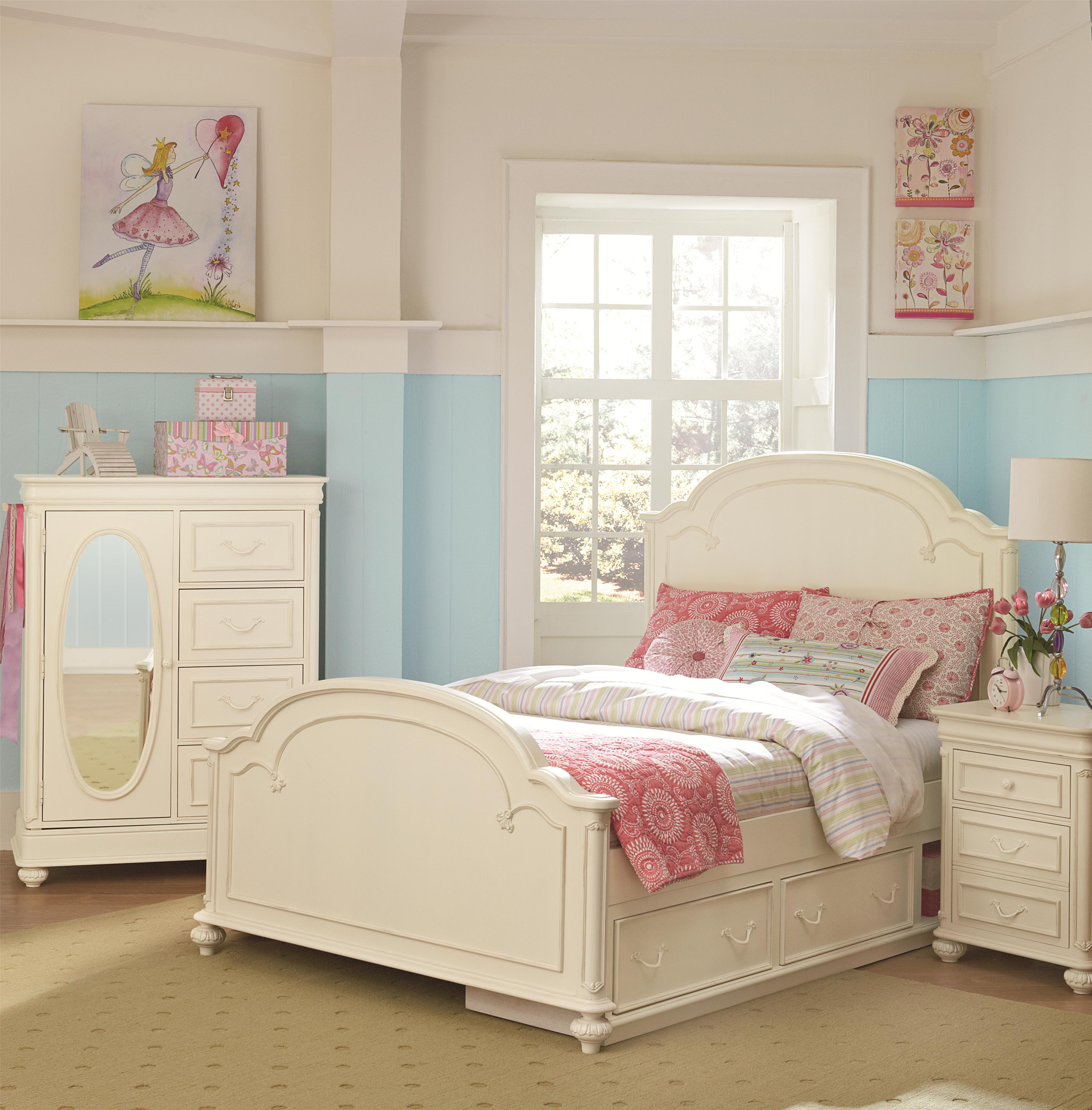Rich Caramel Finish Classic Bedroom Set W Options: Full Arched Panel Headboard By Legacy Classic Kids