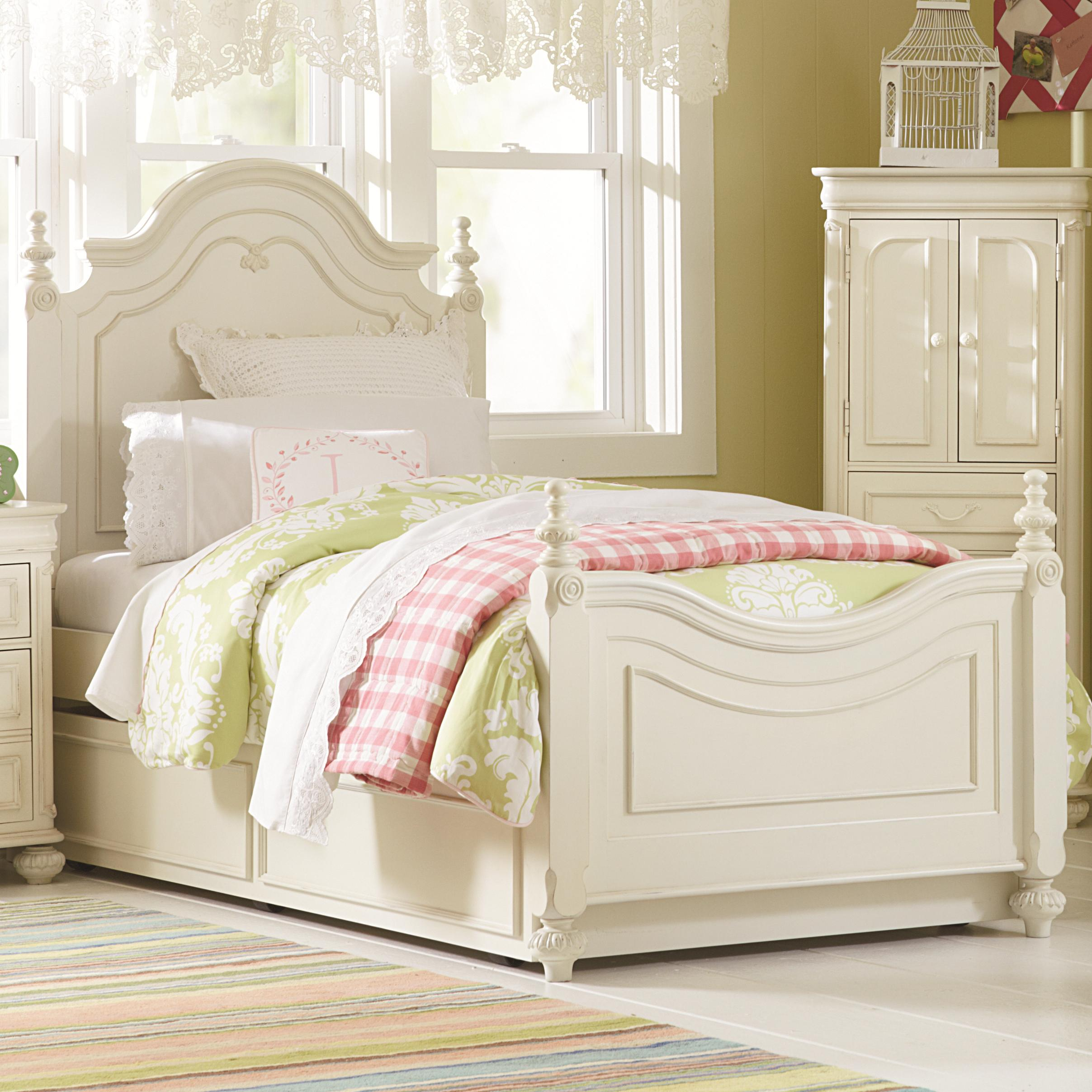 Twin Low Poster Bed With Trundle Unit By Legacy Classic