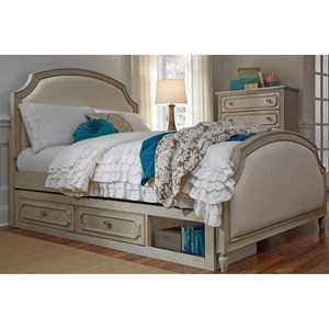 Twin Upholstered Panel Bed with Storage