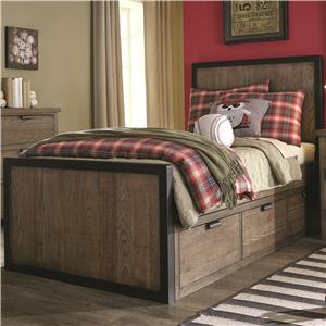 Full Panel Bed with 3 Under Bed Storage Drawers