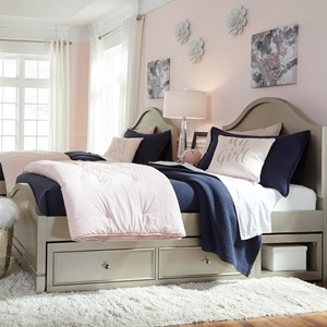 Glam Twin Panel Bed with Underbed Storage Unit