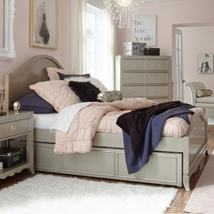 Glam Full Panel Bed with Trundle and Storage