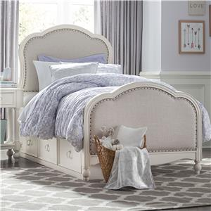 Victoria Panel Full Bed with Upholstered Tea Stain Woven Fabric with Underbed Storage