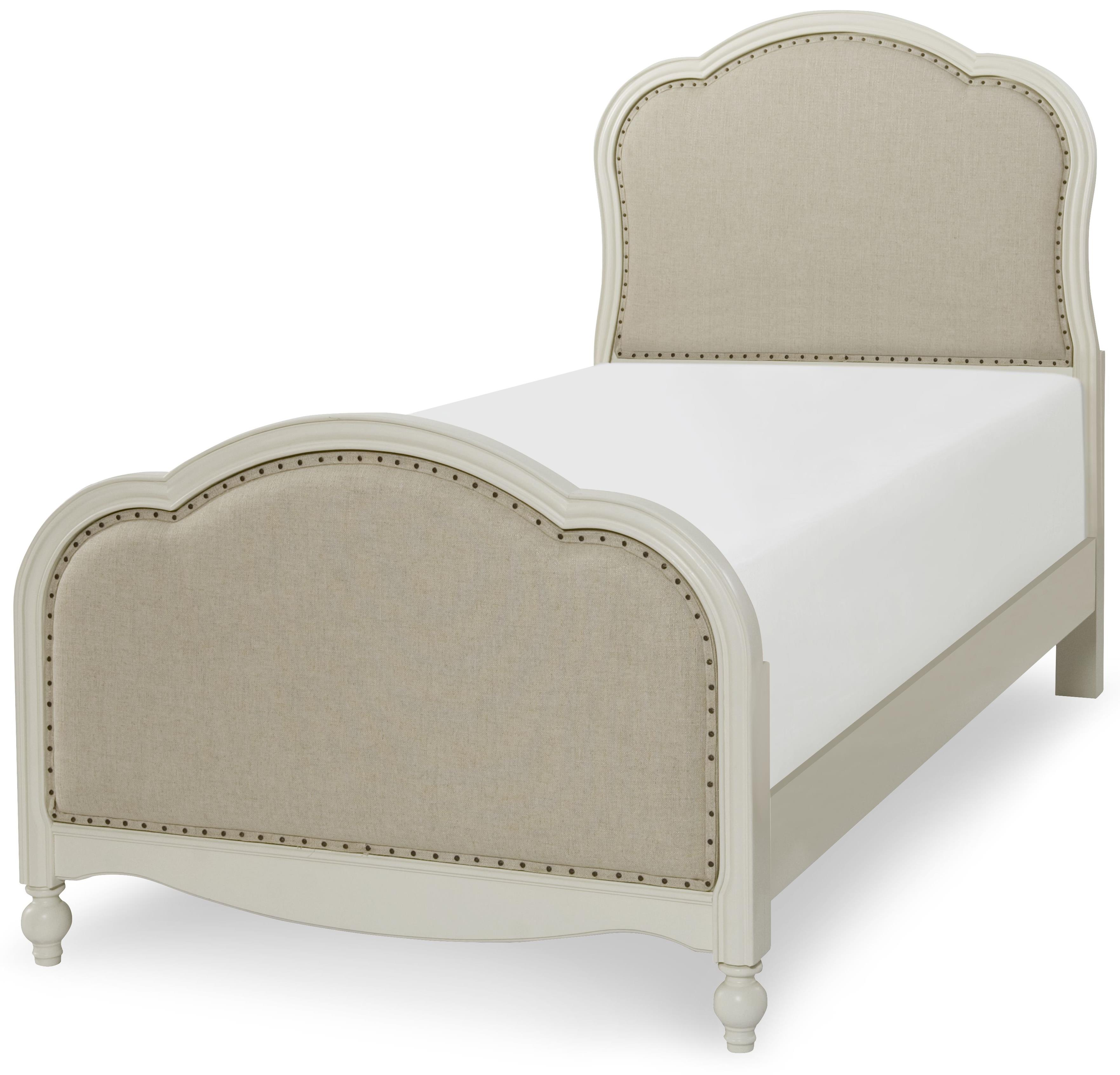 victoria panel twin bed with upholstered tea stain woven fabric by  - victoria panel twin bed with upholstered tea stain woven fabric