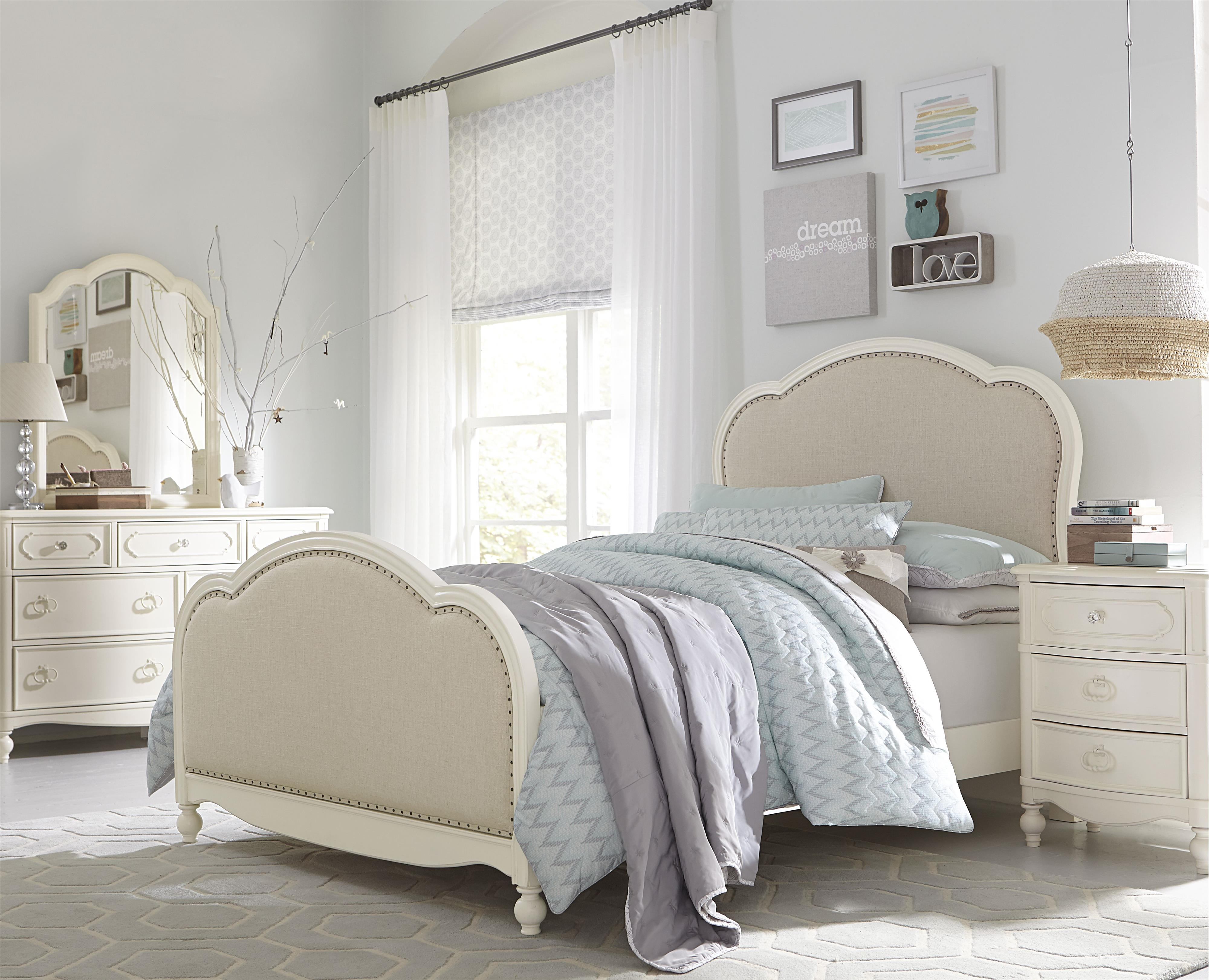 victoria upholstered panel full bed. victoria panel full bed with upholstered tea stain woven fabric by
