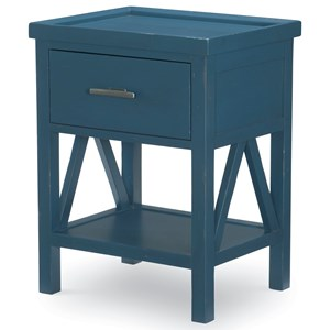 Open Nightstand with USB Port and Motion-Activated LED Light