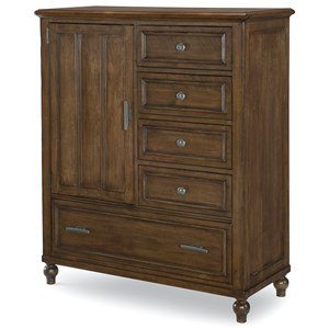 Transitional Door Chest with Pull Out Hanging Rod
