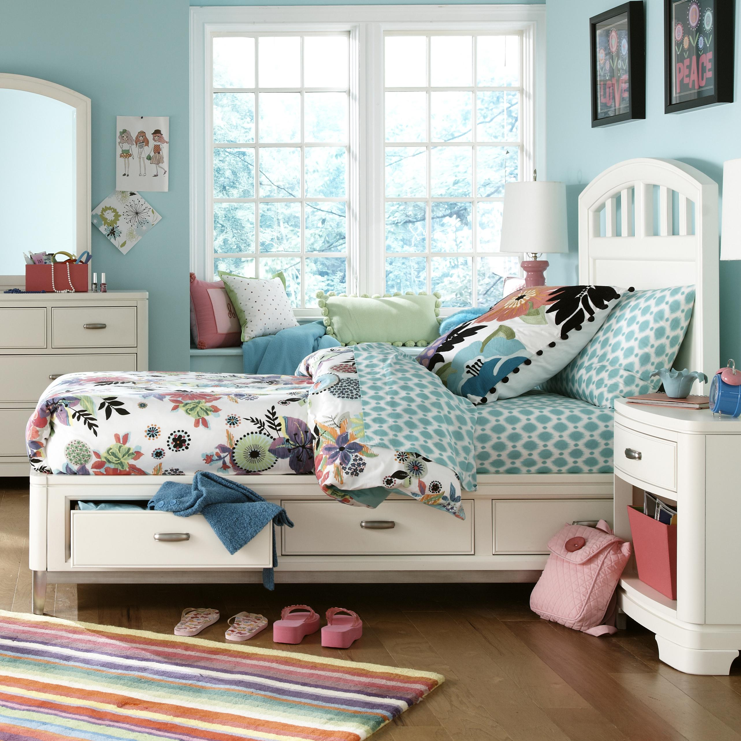 Twin bed with storage and headboard - Twin Platform Storage Bed With Slatted Headboard
