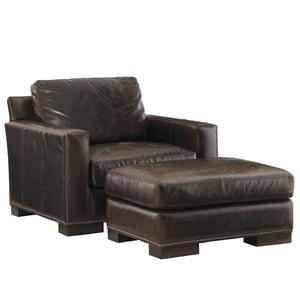 Lexington Quick Ship Upholstery Quickship Reuben Leather Chair and Ottoman