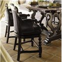 Tommy Bahama Home Kingstown Dunkirk Swivel Counter Stool with Arms - Shown with Sienna Bistro Table