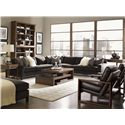 Lexington 11 South 3-Piece Upholstered Chronicle Sectional  - 7910-53L+53R+51CR - Shown with Cosmo Lamp Table, Cascade Cocktail Table, Synergy Stacking Hutch, Axis Leather Chair and South Throw Pillows