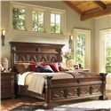 Lexington Fieldale Lodge Queen-Size Pine Lakes Bed Detailed with Molding Patterns & Nailhead Trim - Shown with Tahoe Bedside Chest - Bed Shown May Not Represent Size Indicated