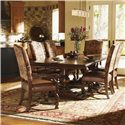 Lexington Fieldale Lodge Aspen Upholstered Dining Arm Chair - Shown with Silverton Dining Table and Aspen Side Chairs