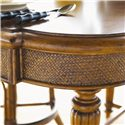 Tommy Bahama Home Island Estate Samba Game Table with Felt Lined Drawers - Woven Cane in Traditional X-pattern on Table Edges