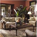 Lexington Quick Ship Upholstery Quick Ship Benoa Harbour Sofa with Exposed Wood Accents - Shown with Benoa Harbour Chair