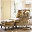 Lexington St. Tropez Cabris Accent Table with Glass Top - Shown with Tufted Chair and Ottoman