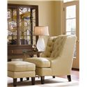 Lexington St. Tropez Belrose Tufted Back Chair and Ottoman - Shown in Living Room with Belfort China