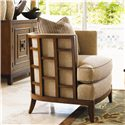 Tommy Bahama Home Ocean Club Exposed Grid Pattern Wood Abaco Chair - Shown with Jakarta Chest
